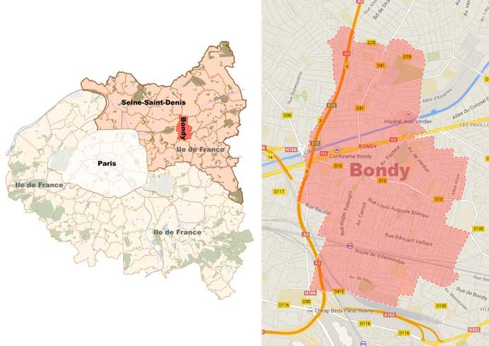 Position of Bondy in Seine-Saint-Denis and map